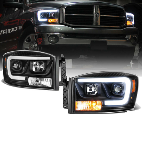 Black LED DRL Tube Projector Headlight Lamp for Dodge Ram 1500 2006 2007 2008 Ram 2500 3500 2006 2007 2008 2009