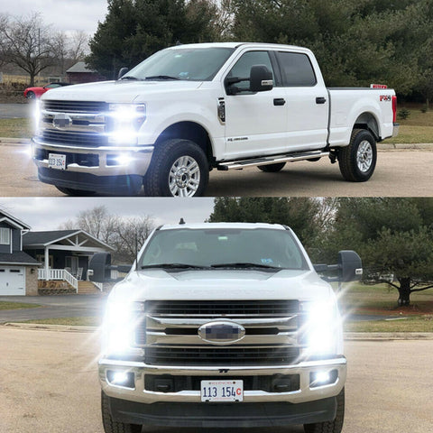 For Ford F250 F350 F450 2005-2019 6000K LED Headlight Hi/Lo + Fog Light Bulbs