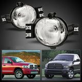 Pair Bumper Fog Light Lamp OE Replacement DOT Clear Lens Fit for 2002-2009 Dodge Ram