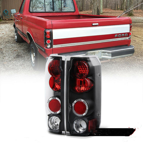 Bronco Black Red Tail Light Brake Signal Lamp L+R for 89-96 Ford F150 F250 F350