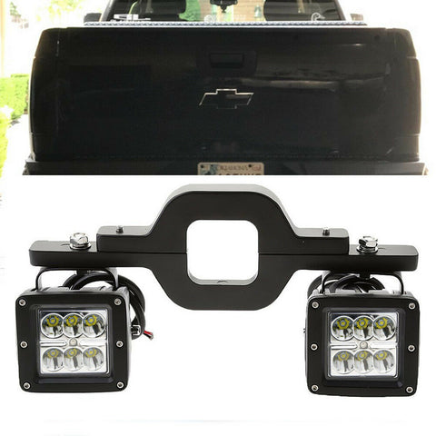 Tow Hitch Bracket+Backup Reverse Dual Led Light Pod for Dodge Ram 1500 2500 3500