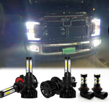 6000K White LED Headlight Fog Light Bulbs 6pcs for Ford F250 F350 2005-2019