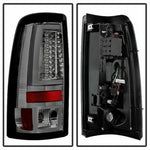 1500 Chrome Smoke LED Tail Lights Set Spyder for 1999-2002 Chevy Silverado/GMC Sierra