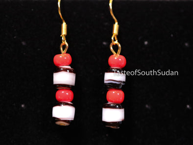 Authentic African Beaded Earrings Red, white and black glass beads.   Hand made by women in South Sudan using traditional beading techniques passed down generations.  Sudanese earrings.
