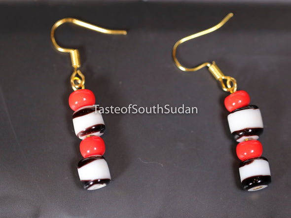 Authentic South Sudanese African Beaded Earrings Red, white and black glass beads