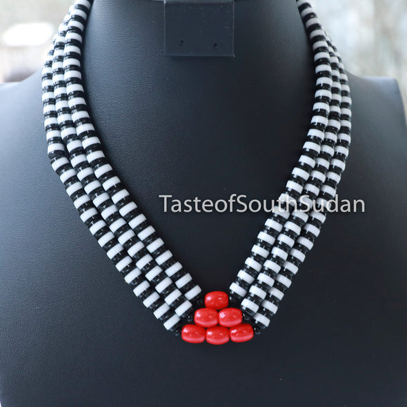 African MAJOK Triple Bridal Beaded necklace Black & White w RED Center Beads Taste of South Sudan