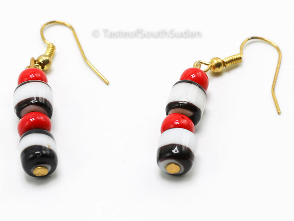 Authentic African Beaded Earrings Red, white and black glass beads