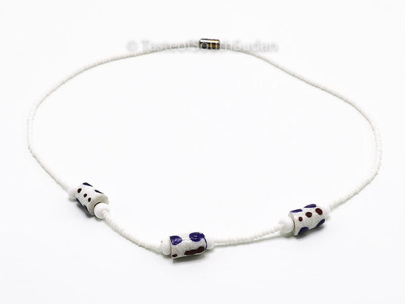 Authentic African Beaded Necklace White w/ White/Blue Ghana Krobo Glass Beads Choker