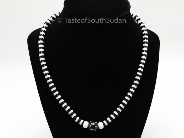 African MAJOK Beaded necklace Black & White w Black Center Bead South Sudan