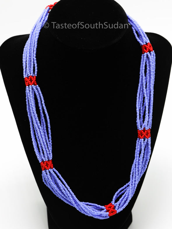 Authentic African Beaded Necklace Nilotic 10 Strand Blue with Red Accents 21""