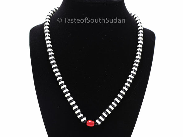African MAJOK Beaded necklace Black & White w RED Center Bead South Sudan