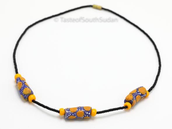African Beaded Contemporary Necklace Black with Krobo Glass Beads from Ghana