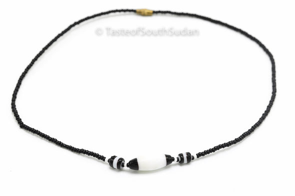 "African beaded necklace Mundari Tribe BLACK with BLACK&WHITE Center bead  15"" Choker New"