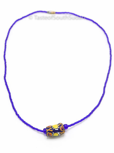 African Beaded Necklace Blue w/ Ghana Krobo Glass Beads 18""