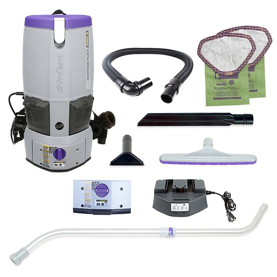 ProTeam 107644 GoFree Flex Pro II, 12 AH Cordless Backpack Vacuum W/ 107100 Kit