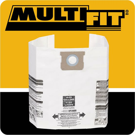 MultiFit® General Dust Filter Bags 15-22 Gallon Models, 3pk (VF2008)