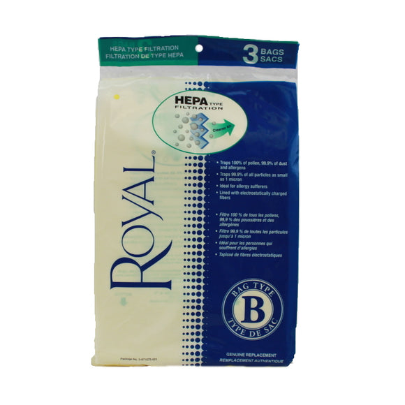 Royal Genuine Type B HEPA-Type Filtration Bags 3pk, 3871075001