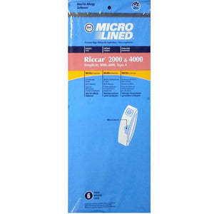 Riccar Replacement Type A Microlined Vacuum Bags 2000/4000 Series, 6pk