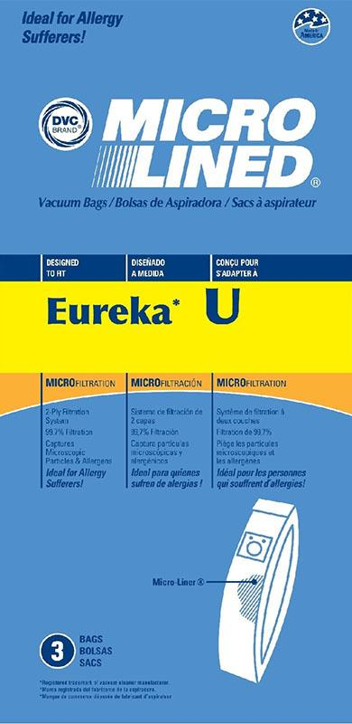 Eureka Replacement U Microlined Vacuum Bag, 3pk