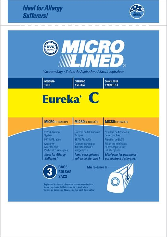Eureka Replacement Type C Microlined Vacuum Bag, 3pk
