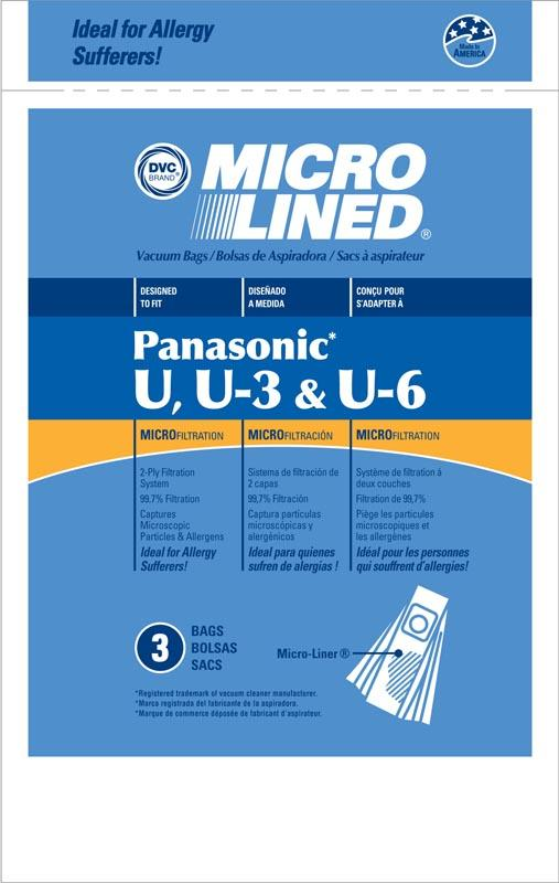 Panasonic Replacement Type U3-U6 Microlined Vacuum Bags, 3pk
