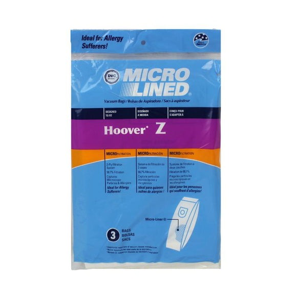 Hoover Replacement Type Z Microlined Vacuum Bags, 3pk