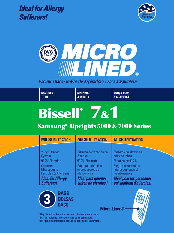 Bissell Replacement Style 1/7 Microlined Vacuum Bags, 3pk