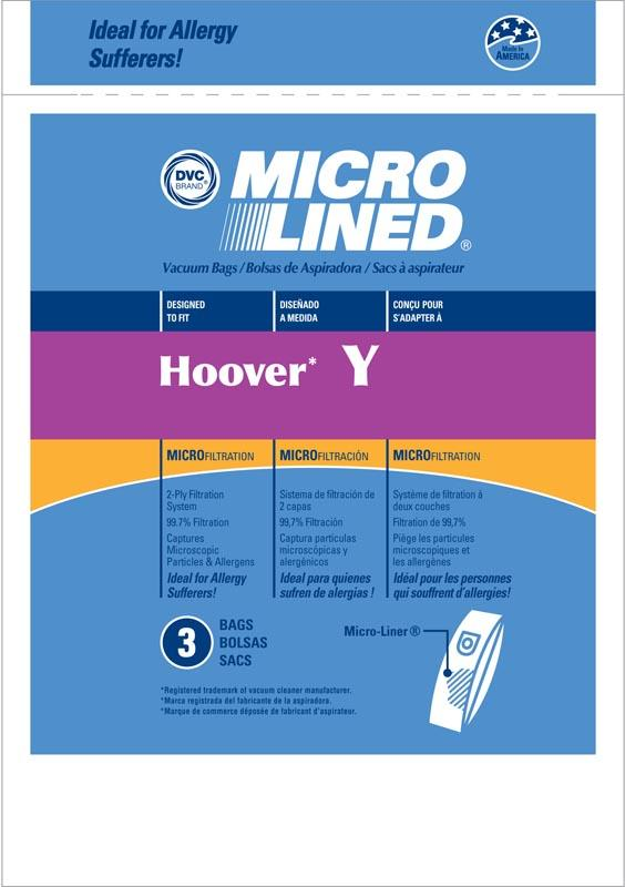 Hoover Replacement Type Y Microlined Vacuum Bags, 3pk