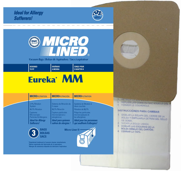 Eureka Replacement Type MM Microlined Vacuum Bags, 3pk