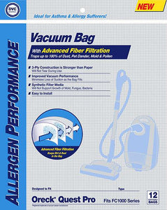Oreck Replacement Quest Pro Synthetic Allergen Vacuum Bags, 12pk