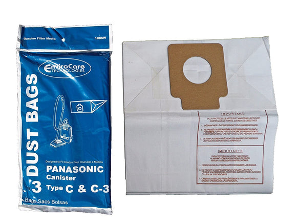 Panasonic Replacement Type C & C3 Standard Vacuum Bags, 3pk