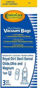 Dirt Devil Replacement Style U Micro Filtration Bags, 3pk (EVC157)