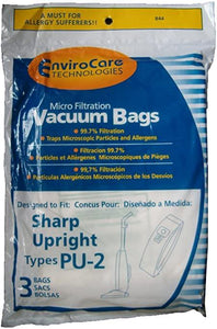 Sharp Replacement Style PU-2 Micro Filtration Bags, 3pk (EVC844)