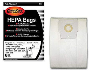 Riccar Replacement Style H HEPA Media Bags, 6pk (EVC855)