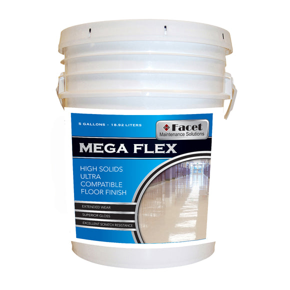 Facet Mega Flex High Solids Ultra Compatible Floor Finish,25% Solids, 5-gallon pail