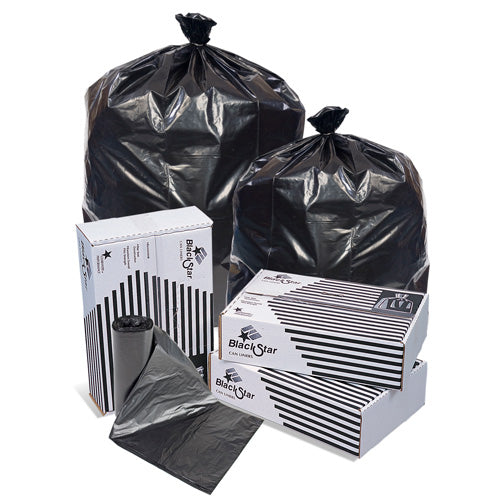 43x47 LLD 1.7 mil Super Heavy Duty Can Liner, Black, 56 gal, Coreless roll, 100 bags/case