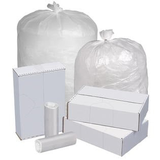 43x48 HDPE 22 micron Super Heavy Can Liner, Natural Clear, 56 gal, Coreless roll, 150 bags/case