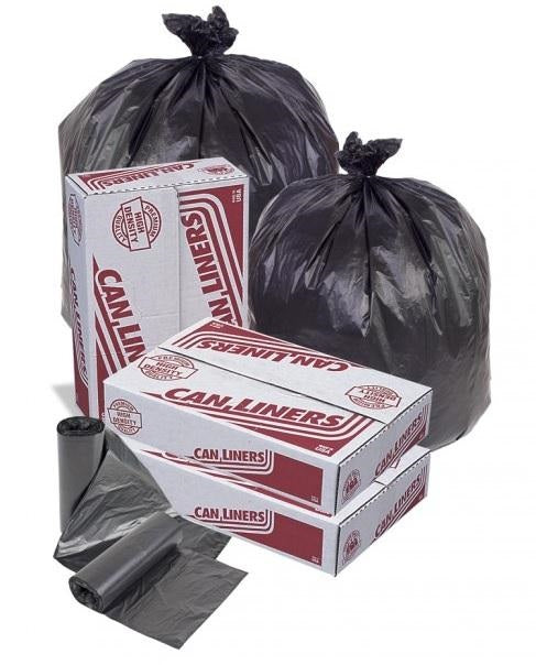 30x37 HDPE 12 micron Medium weight Can Liner, Black, 20-30 gal, Coreless roll, 500 bags/case
