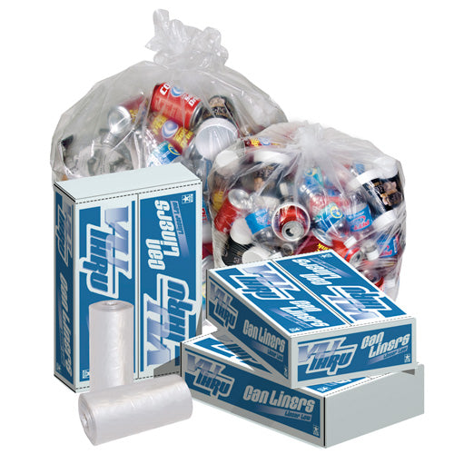 38x58 LLD 1.3 mil Clear Can Liner, 60 gal, Coreless roll, 100 bags/case