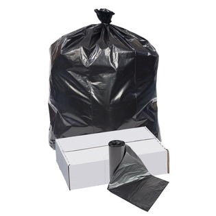 45x47 Extra Heavy 1.2 mil Industrial Can Liners, Black, 50 gal Square Brute, coreless roll, 100 bags/case