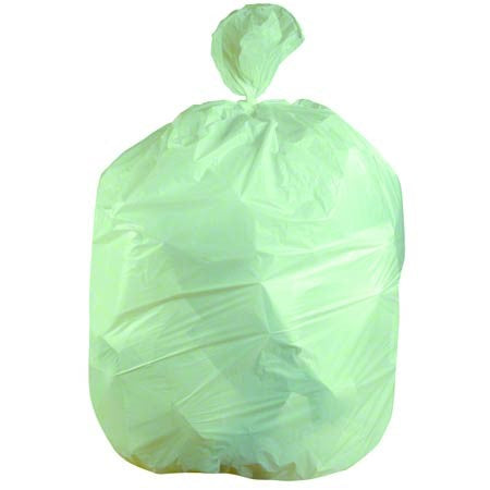 24x32 Biodegradeable HDPE 8 micron Green Can Liner, 12-16 gal, coreless roll, 500 bags/case
