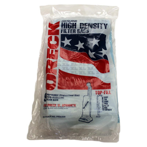 Oreck PK80009 High Density Filter Bags w/o Docking, 9pk