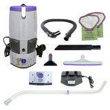 ProTeam GoFree Flex Pro II, 6 Ah, 6 qt. Cordless Backpack Vacuum w/ Xover Multi-Surface Telescoping Wand Tool Kit (107646)