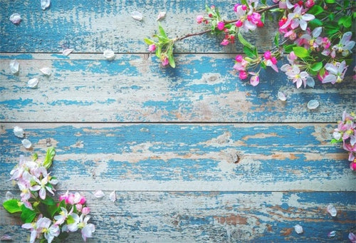 Wooden Board Flowers Petal Photographic Background