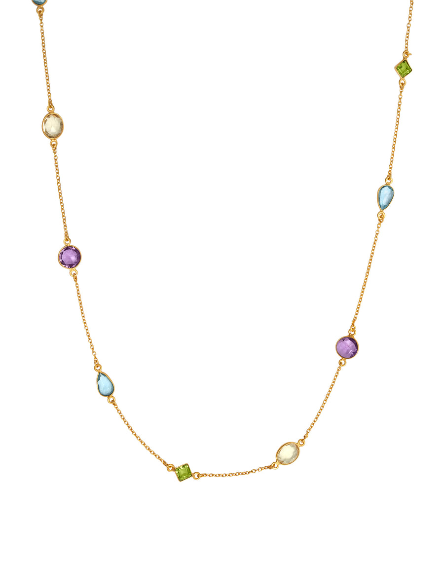 Multi stone gold necklace 24