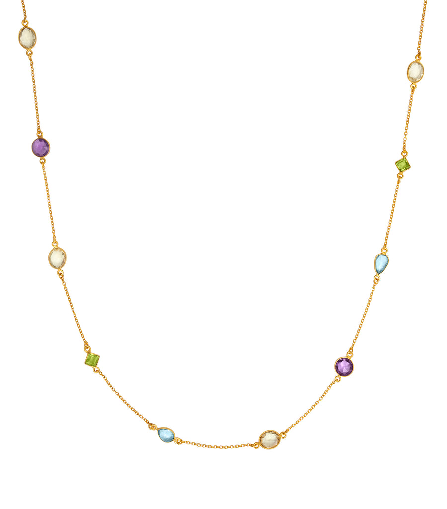 Multi stone gold necklace 34