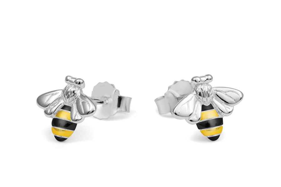 Silver Bee Earrings