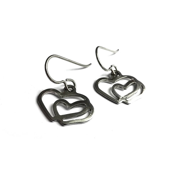 Silver heart dangle earrings - Hypoallergenic pure titanium and stainless steel