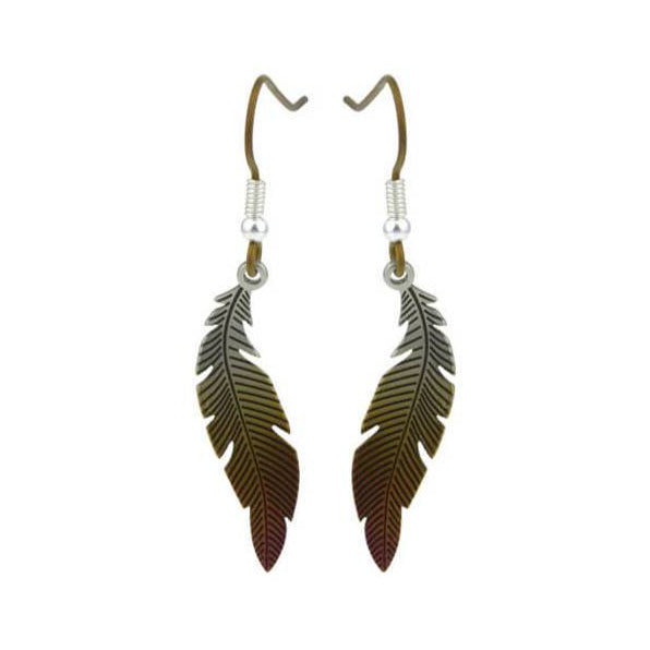 Small Curved Feather Titanium Earrings, 100% Hypoallergenic, Sensitive ear