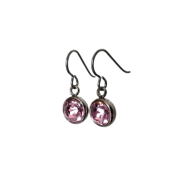 Soft pink rhinestone faceted dangle earrings - Pure titanium, stainless steel and rhinestone